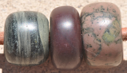 Three Handmade Stone Beads